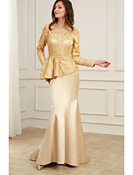 cheap -Mermaid / Trumpet Jewel Neck Floor Length Charmeuse Peplum / Gold Formal Evening / Wedding Guest Dress with Appliques 2020