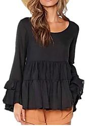 cheap -Women's Mini Black Beige Dress Loose Solid Color S M
