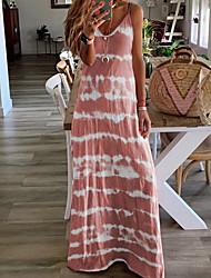 cheap -Women's Strap Dress Maxi long Dress - Sleeveless Tie Dye Summer Casual Vacation Beach Wine Blue Purple Blushing Pink Khaki Gray Light Blue S M L XL XXL XXXL XXXXL XXXXXL