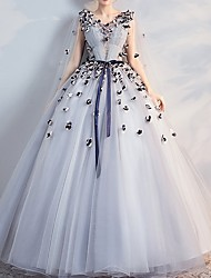 cheap -Ball Gown V Neck Floor Length Lace Sleeveless Beach Wedding Dress in Color Wedding Dresses with Lace Insert / Appliques 2020