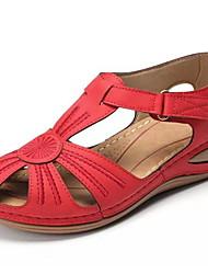 cheap -Women's Sandals Wedge Sandals Summer Wedge Heel Round Toe Daily PU Black / Red / Green