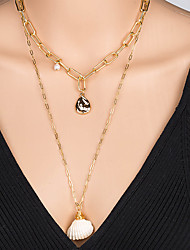 cheap -Women's Pendant Necklace Necklace Layered Necklace Stacking Stackable Shell Simple Classic Rustic Bohemian Imitation Pearl Chrome Shell Gold 60 cm Necklace Jewelry 1pc For Engagement Street Birthday