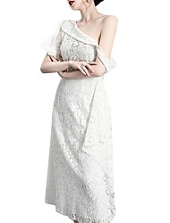 cheap -One Shoulder Asymmetrical Polyester Bridesmaid Dress with Lace