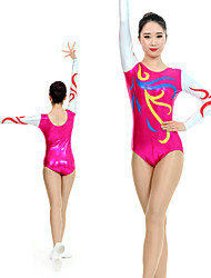 cheap -Rhythmic Gymnastics Leotards Artistic Gymnastics Leotards Women's Girls' Kids Leotard Spandex High Elasticity Handmade Long Sleeve Competition Dance Rhythmic Gymnastics Artistic Gymnastics Fuchsia
