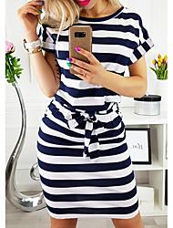 cheap -Women's Sheath Dress - Striped Blue Gray S M L XL