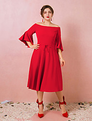 cheap -A-Line Plus Size Red Engagement Cocktail Party Dress Off Shoulder 3/4 Length Sleeve Tea Length Spandex with Bow(s) 2020