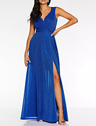 cheap -A-Line Glittering Blue Holiday Prom Dress V Neck Sleeveless Floor Length Polyester with Sequin Split 2020