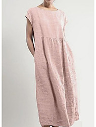 cheap -Women's Tunic Dress - Solid Color Blushing Pink Black Gray S M L XL