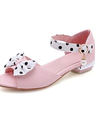 cheap -Women's Sandals Chunky Heel Peep Toe Buckle PU Preppy / Minimalism Spring & Summer White / Blue / Pink / Party & Evening / Color Block