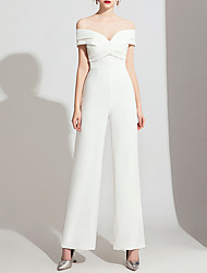 cheap -Jumpsuits Wedding Dresses Off Shoulder Floor Length Polyester Cap Sleeve Formal Simple with Side-Draped 2020