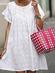 cheap -Women's White Dress Loose Solid Color S M