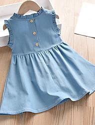 cheap -Kids Girls' Solid Colored Dress Light Blue