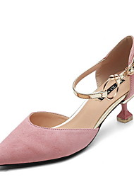 cheap -Women's Heels Low Heel Pointed Toe Suede Spring & Summer Black / Pink