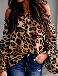 cheap -Women's Leopard Shirt Daily Off Shoulder Light Brown