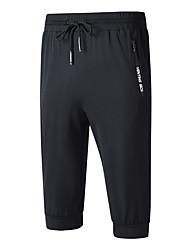 cheap -Men's Running 3/4 Capri Pants Running Shorts Beam Foot Drawstring Ice Silk Sports Bottoms Running Fitness Jogging Training Breathable Quick Dry Soft Solid Colored Black / High Elasticity