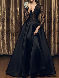 cheap -A-Line V Neck Floor Length Satin Long Sleeve Beach Black / Illusion Sleeve Wedding Dresses with Lace Insert / Embroidery 2020