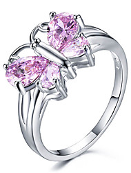 cheap -Women's Ring AAA Cubic Zirconia 1pc Dark Red White Purple Platinum Plated Alloy Stylish Daily Jewelry Butterfly Cute