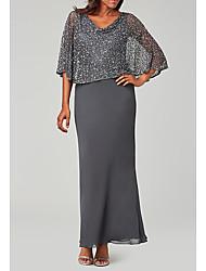 cheap -Sheath / Column Mother of the Bride Dress Elegant V Neck Floor Length Chiffon Long Sleeve with Beading Sequin 2021