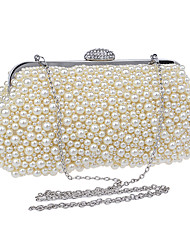 cheap -Women's Pearls Polyester Evening Bag Solid Color White / Champagne / Beige