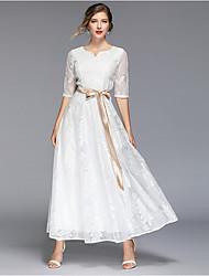 cheap -Women's White Dress Swing Solid Color M L