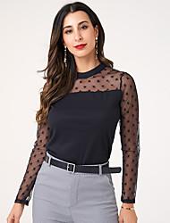 cheap -Women's Party Club Vintage / Elegant Blouse - Solid Colored Lace / Patchwork Black