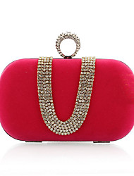 cheap -Women's Bags Polyester Evening Bag Crystals Chain for Wedding / Event / Party Black / Red / Fuchsia / Royal Blue / Wedding Bags
