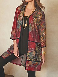 cheap -Women's Floral Long Sleeve Cardigan Sweater Jumper, Round Neck Wine / Purple / Green S / M / L