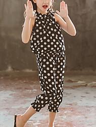 cheap -Kids Girls' Street chic Daily Wear Black & White Polka Dot Sleeveless Regular Regular Clothing Set Black