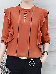 cheap -Women's Solid Colored Blouse Daily Blue / Yellow / Blushing Pink / Orange