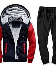 cheap -Men's Hoodie Color Block Hooded Basic Black Blue Red US32 / UK32 / EU40 US34 / UK34 / EU42 US38 / UK38 / EU46 US40 / UK40 / EU48 US42 / UK42 / EU50