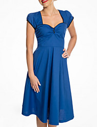 cheap -A-Line Sweetheart Neckline Knee Length Polyester Elegant / Blue Cocktail Party / Wedding Guest Dress with Pleats 2020