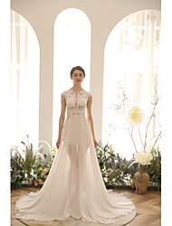 cheap -A-Line Jewel Neck Court Train / Asymmetrical Chiffon Sleeveless Sexy See-Through Made-To-Measure Wedding Dresses with Embroidery 2020