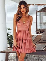 cheap -Women's Skater Dress - Sleeveless Solid Color V Neck White Blushing Pink S M L XL XXL