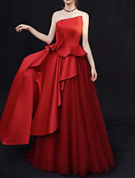 cheap -A-Line Strapless Sweep / Brush Train Satin Strapless Sexy Plus Size / Red / Modern Wedding Dresses with Ruffles / Draping 2020