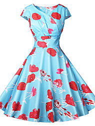 cheap -Women's Red Blue Dress Vintage Style Daily Going out Swing Floral Print Deep V Basic S M Slim / Retro
