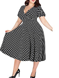 cheap -Women's Wine White Dress Swing Polka Dot V Neck L XL Loose