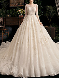 cheap -Ball Gown Jewel Neck Watteau Train Lace / Tulle Long Sleeve Formal Elegant / Illusion Sleeve Wedding Dresses with Lace / Lace Insert 2020