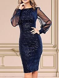 cheap -Women's Navy Blue Dress Sheath Solid Color Sequins Tassel Fringe S M Slim