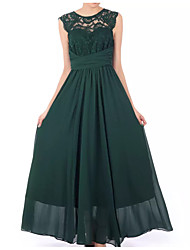 cheap -A-Line Jewel Neck Floor Length Chiffon Plus Size / Elegant Prom / Wedding Guest Dress with Draping / Sash / Ribbon / Pleats 2020