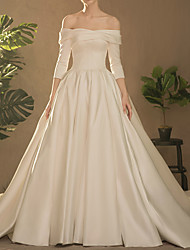 cheap -Ball Gown Off Shoulder Watteau Train Satin Half Sleeve Simple Elegant Wedding Dresses with Ruched / Side-Draped 2020
