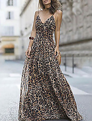 cheap -Women's Strap Dress Maxi long Dress - Sleeveless Leopard Fuchsia Brown Navy Blue S M L XL