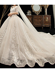 cheap -Ball Gown V Neck Watteau Train Lace / Tulle Half Sleeve Formal Plus Size Wedding Dresses with Lace / Lace Insert 2020