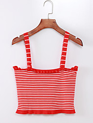 cheap -Women's Going out Weekend Tank Top - Striped Red