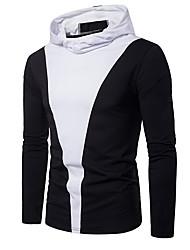 cheap -Men's Color Block Slim T-shirt Basic Daily Hooded White / Black / Blue / Long Sleeve
