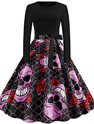 cheap -Women's Party Daily Vintage Style Active Swing Dress - Print Patchwork Print Black S M L XL