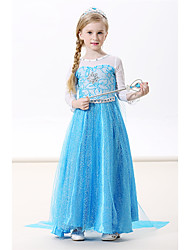cheap -Princess Elsa Dress Cosplay Costume Masquerade Girls' Movie Cosplay A-Line Slip Cosplay Vacation Dress Blue / Green / Blue (With Accessories) Dress Halloween Carnival Masquerade Flannel