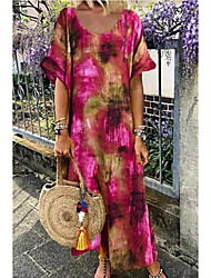 cheap -Women's Maxi Red Blue Dress Shift Print V Neck M L Loose