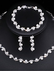 cheap -Women's Jewelry Set Bridal Jewelry Sets European Fashion Elegant Imitation Pearl Earrings Jewelry Silver For Wedding Anniversary Party Evening Engagement Prom 1 set