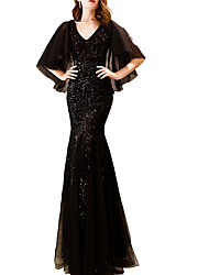 cheap -Mermaid / Trumpet V Neck Floor Length Polyester Elegant / Black Prom / Party Wear Dress with Sequin / Appliques 2020
