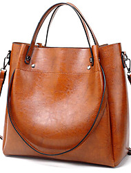 cheap -Women's Polyester / PU Tote Leather Bags Solid Color Wine / Black / Red / Fall & Winter